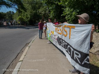Rally in front of the gas compressor construction site