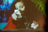 Rasmea Odeh on a video screen