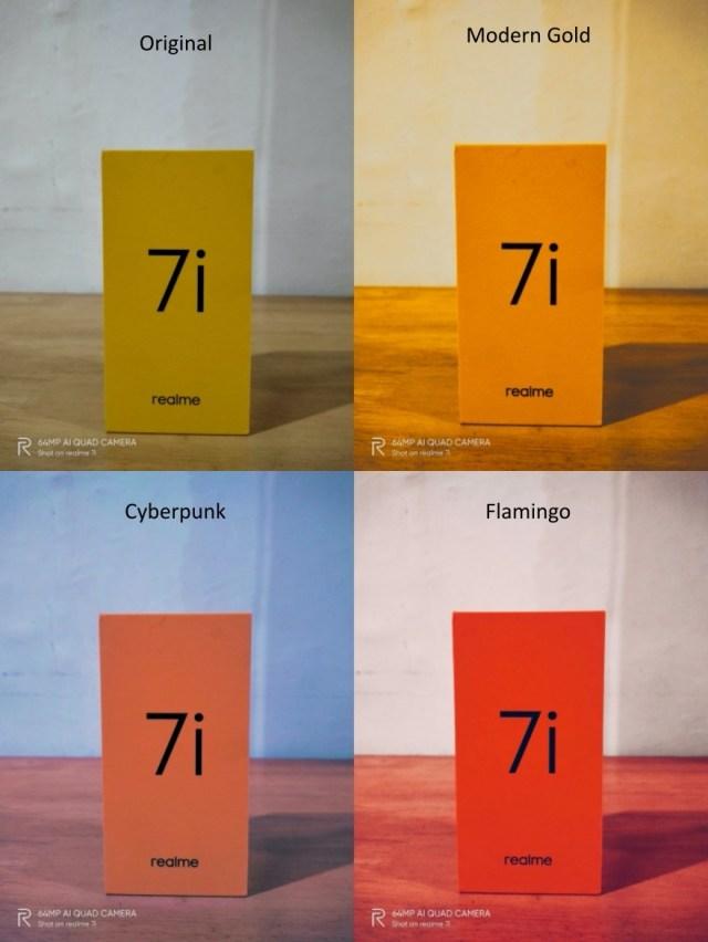 Original, Cyberpunk, Flamingo, and Modern Gold Photo Filters for realme 7i   Skip The Flip