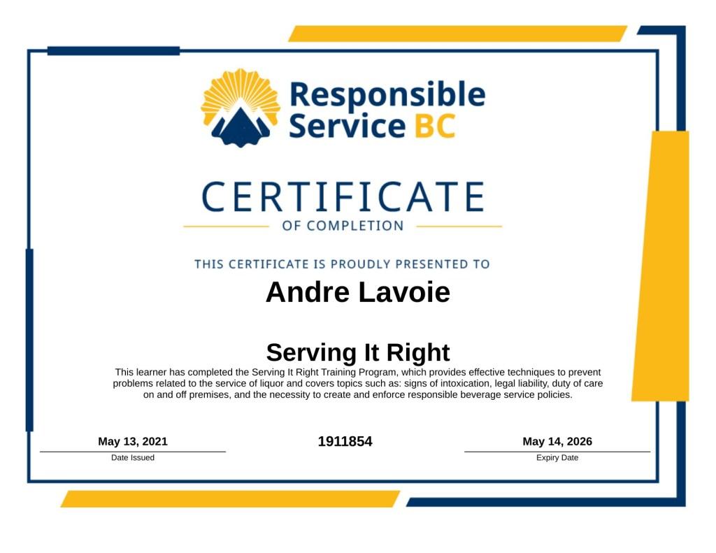 Designated driver certificate
