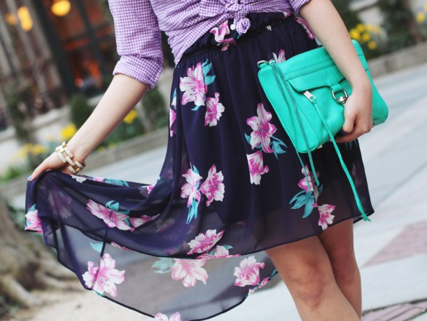 Skirt The Rules Blog; NYC fashion blogger; style blog; spring outfit photos; J.Crew Factory purple gingham shirt; Love Culture Floral Print High Low Dress; Rebecca Minkoff Turquoise MAC Clutch; BaubleBar pink tab necklace; J.Crew pave square link bracelet; Essie Butler Please; Sam Edelman colorblock wedge