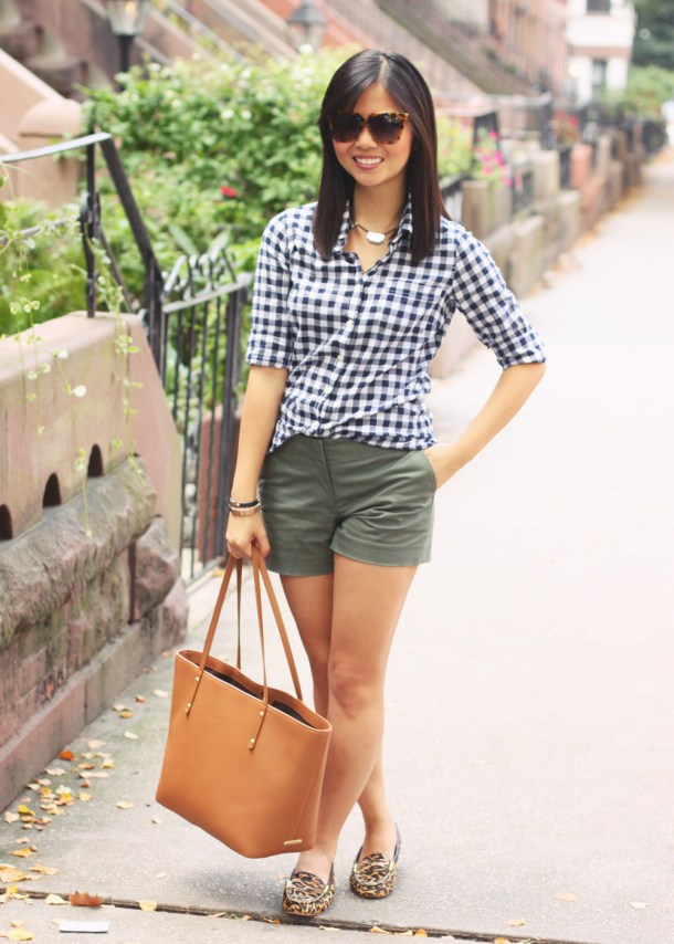 "Skirt The Rules Blog; NYC fashion blogger; style blog; how to wear gingham in the fall; J.Crew navy gingham button up shirt; J.Crew olive 3"" shorts; BaubleBar bronze geometric necklace; Gigi New York Taylor pebble leather tote; zeroUV designer inspired sunglasses; JewelMint leather wrap bracelet; Joie Dylan leopard loafers"