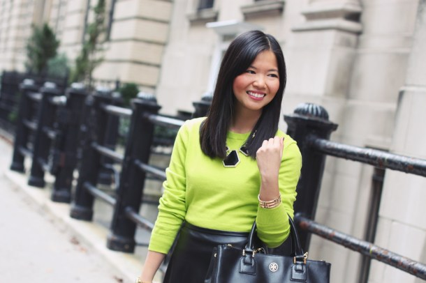 neon sweater + leather skirt