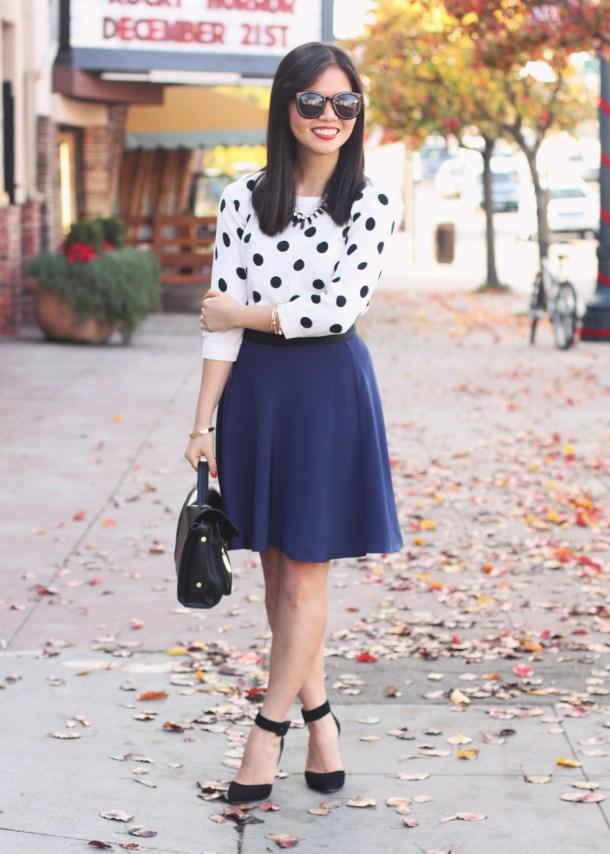 Polka Dot Sweater + Navy Skirt
