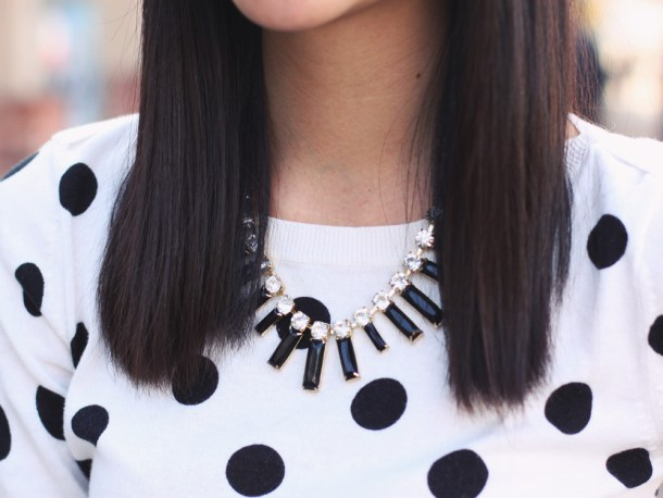 Polka Dot Sweater + Black Statement Necklace
