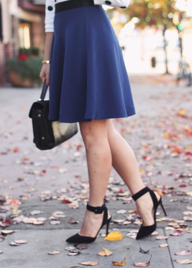 Navy Skirt + Black Ankle Strap Pumps