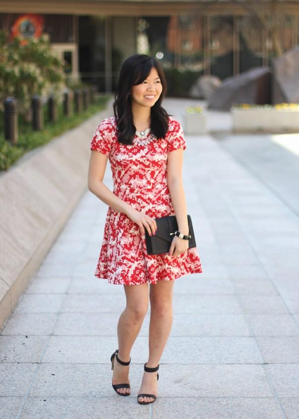 Red Dress & Black Accessories
