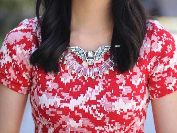 Red Printed Dress & Statement Necklace