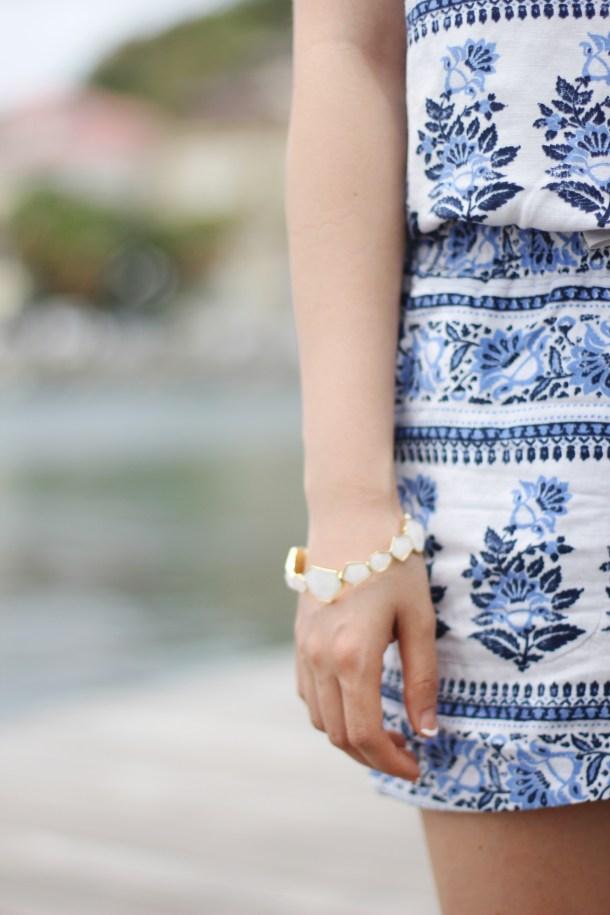Floral Print Romper & Ivory Bracelet