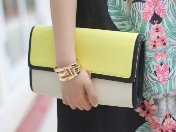 Neon Yellow Colorblock Clutch
