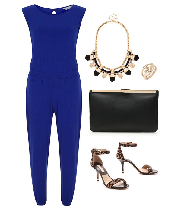 Cobalt Blue Jumpsuit & Black Accessories