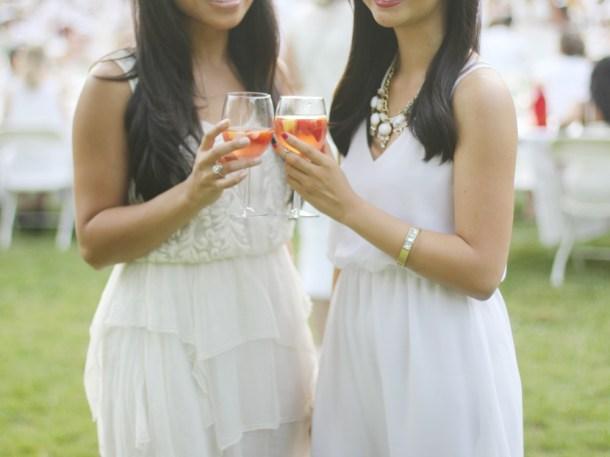 White Outfits & Rosé Sangria