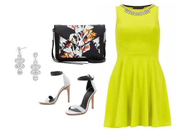 Neon Yellow Dress & Chic Accessories