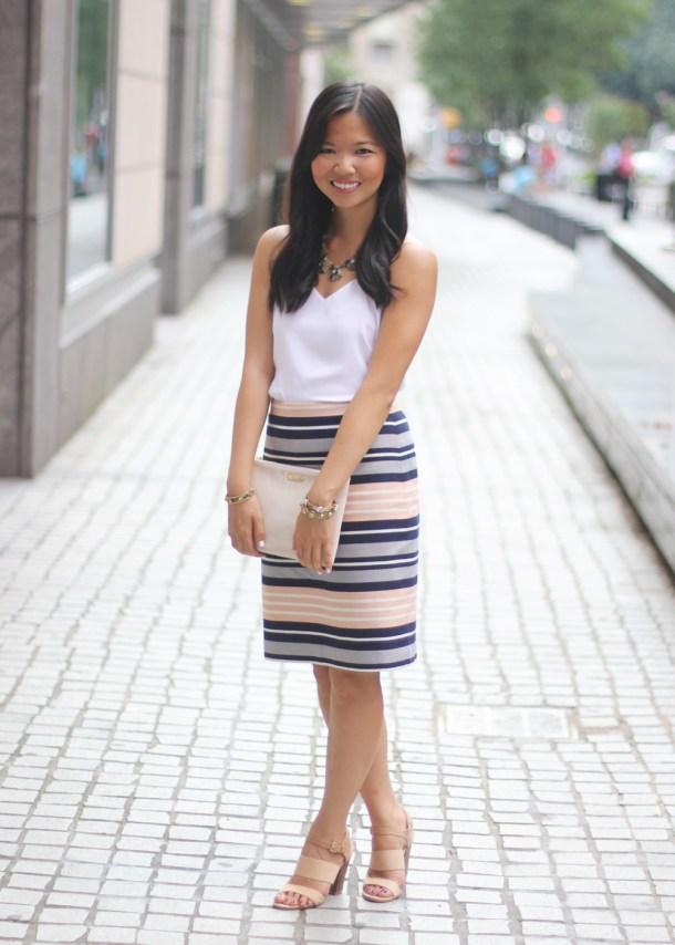 Summer Striped Pencil Skirt