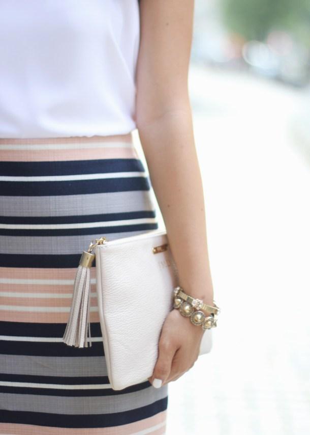 Striped Skirt & Tassel Leather Clutch