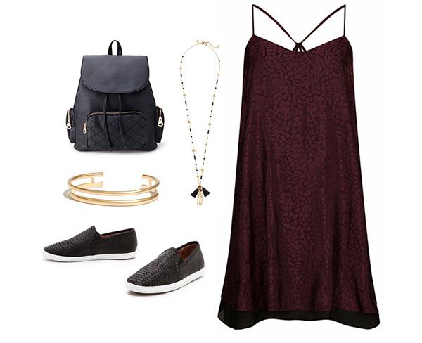 Maroon Slip Dress & Black Snakeskin Slip On Sneakers