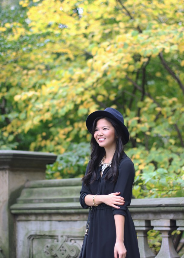 Black Dress, Felt Fedora and Fall Foliage