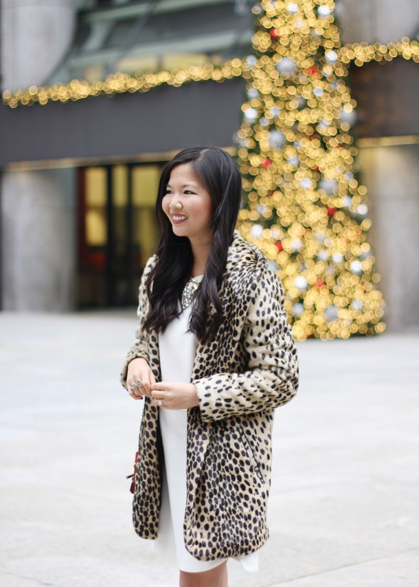 Faux Fur Leopard Coat & Winter White Dress