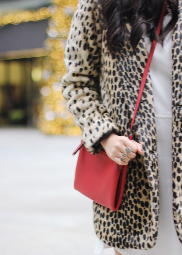 Red Crossbody Bag & Faux Fur Leopard Coat