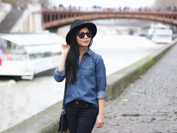 Chambray Shirt & Black Skinny Jeans