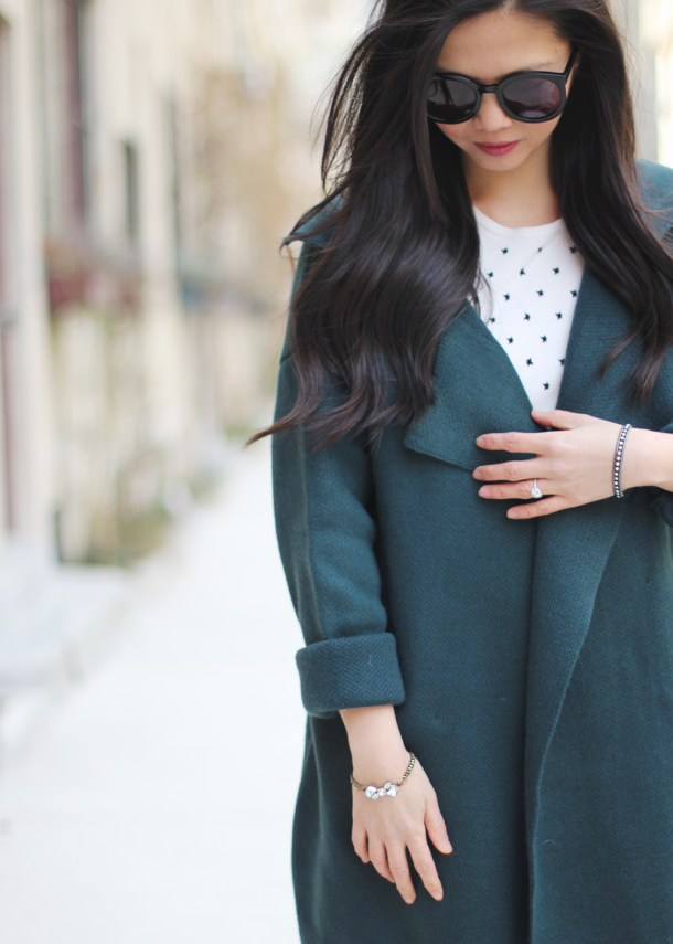 Forest Green Sweater Coat & Star Print Sweater