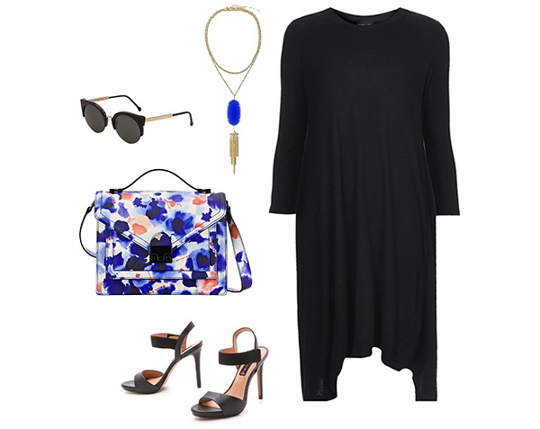 Floral Crossbody Bag & Black Dress