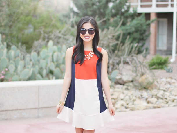 Red, Navy & Cream Colorblock Dress