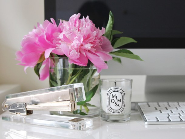 Skirt The Rules // Peonies and Diptyque Candle