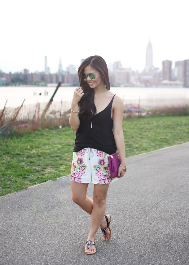 Skirt The Rules // Black Cami & Printed Shorts