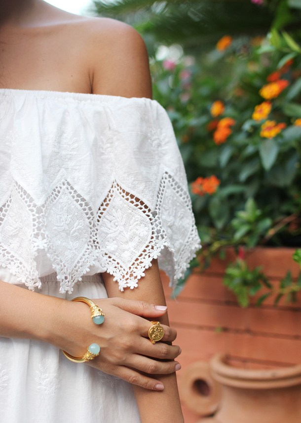 Skirt The Rules // White Off the Shoulder Maxi Dress