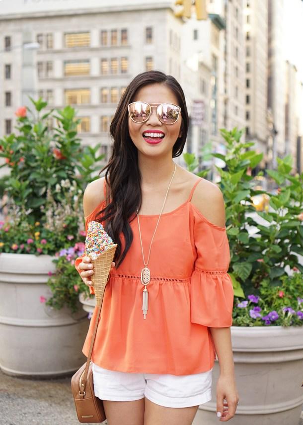 Summer Style / Orange Cold Shoulder Top