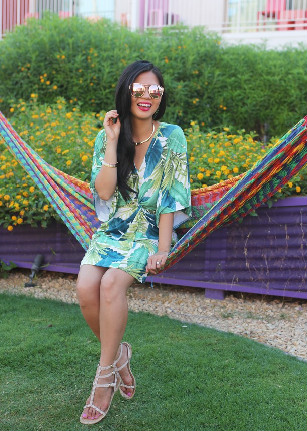 Summer Vacation Outfit / Palm Print Dress