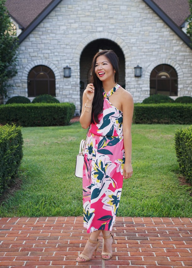 Wedding Guest Style / Pink Floral Dress