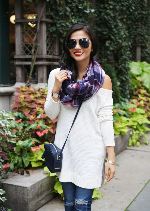 Skirt The Rules / Off the Shoulder Top & Blanket Scarf