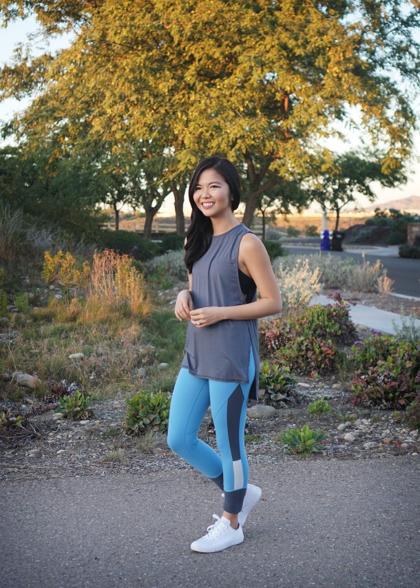 Cute Workout Clothes / Blue Colorblock Leggings