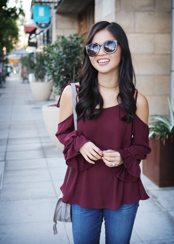 Skirt The Rules / Burgundy Cold Shoulder Top & Skinny Jeans