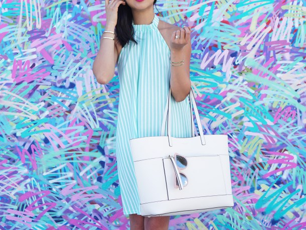Skirt The Rules / White Leather Tote Bag