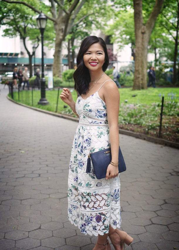 Skirt The Rules / White Floral Lace Midi Dress