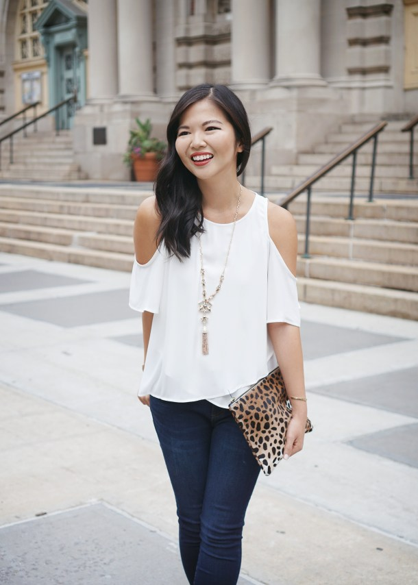 Casual Outfit: Cold Shoulder Top & Step Hem Jeans