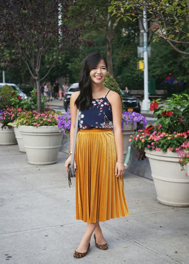 Fall Outfit Inspiration: Navy Floral Top & Mustard Velvet Skirt
