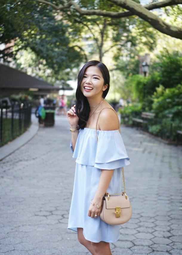 Summer Style Inspiration: Light Blue Off the Shoulder Dress
