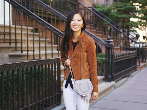 What to Wear with a Brown Suede Moto Jacket