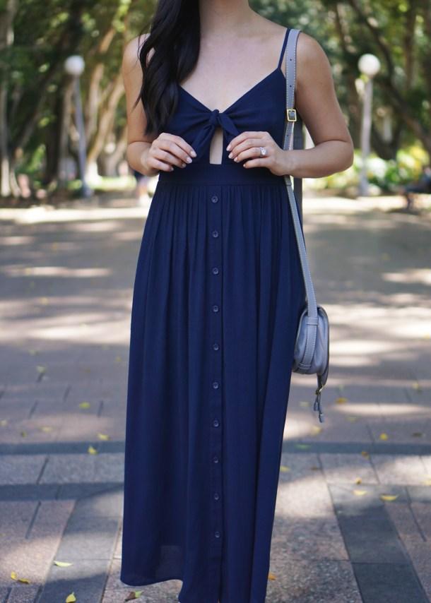 Summer Style / Navy Button Maxi Dress