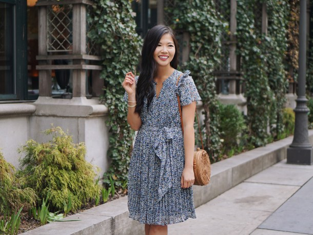 Spring Outfit Idea / Floral Dress & Straw Bag