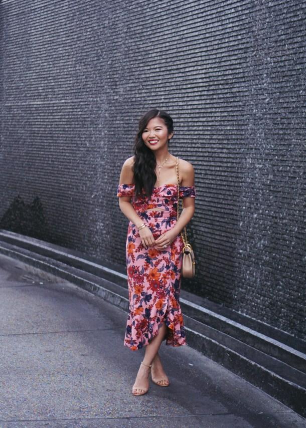 Floral Trumpet Dress & Chloe Mini Drew Bag