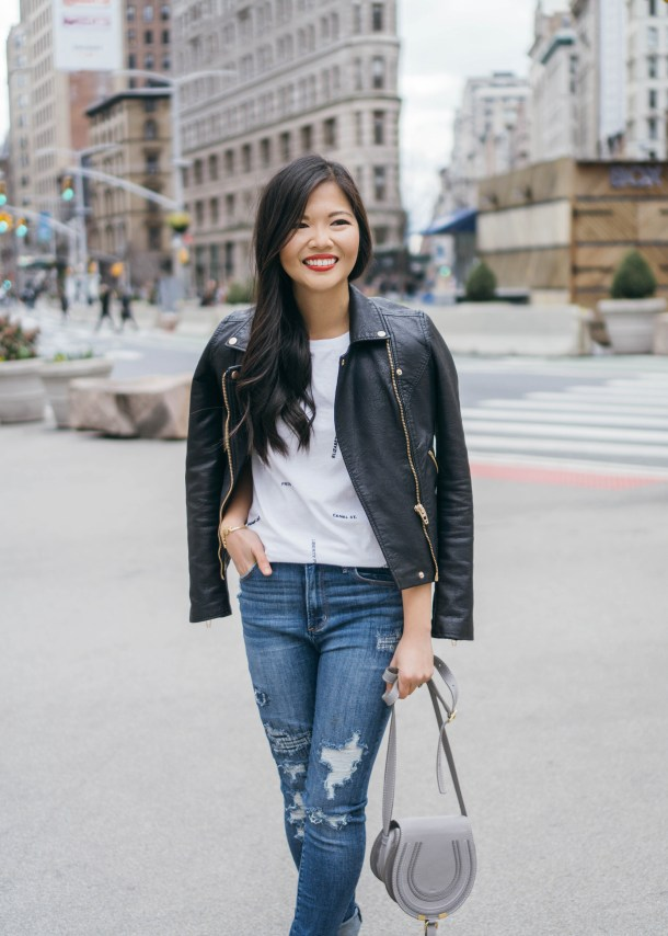 Casual Outfit Inspiration / Leather Jacket & Ripped Jeans