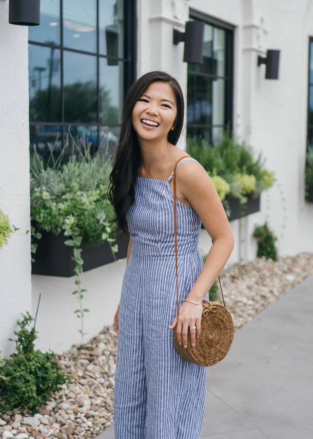 Spring Style Inspiration / Straw Circle Bag & Striped Jumpsuit