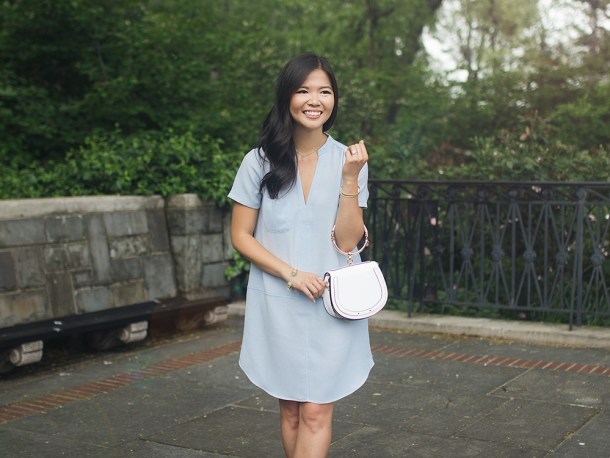 Summer Office Style / Light Blue Short Sleeve Dress