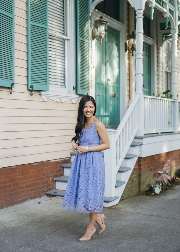 Spring Wedding Guest Dress / Light Blue Lace Dress