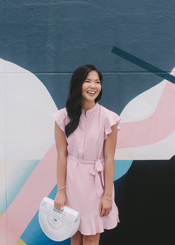 Office Style Inspiration / Pink Shirtdress with Ruffle Sleeves